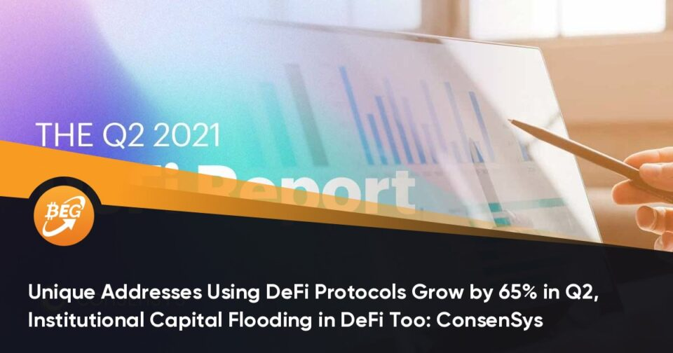Exclusive Addresses Using DeFi Protocols Grow by 65% in Q2, Institutional Capital Flooding in DeFi Too: ConsenSys