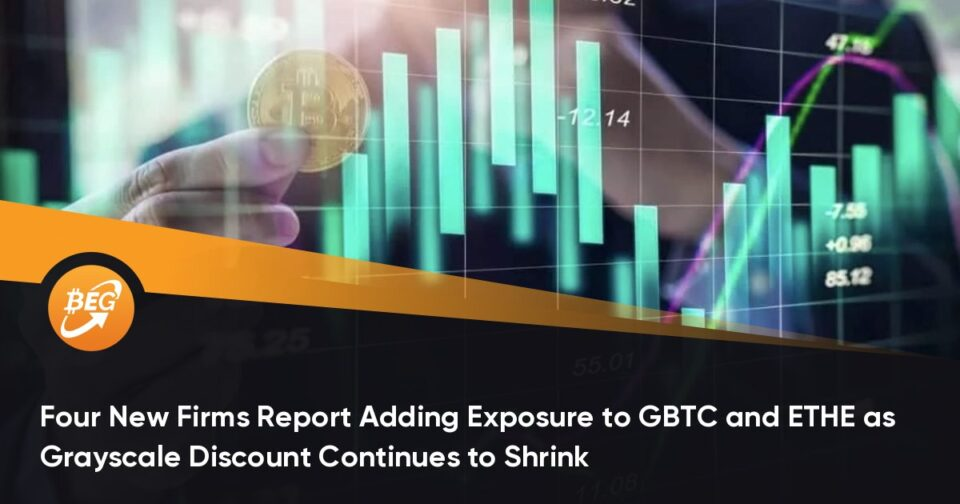 Four Fresh Companies Document Adding Publicity to GBTC and ETHE as Grayscale Discount Continues to Shrink
