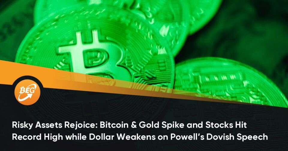 Risky Assets Celebrate: Bitcoin & Gold Spike and Stocks Hit Fable Excessive whereas Dollar Weakens on Powell's Dovish Speech